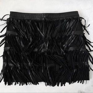 Zara Leather Fringe Skirt